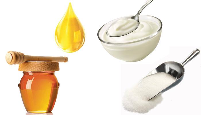 Скраб из сахара, меда, масла и йогурта