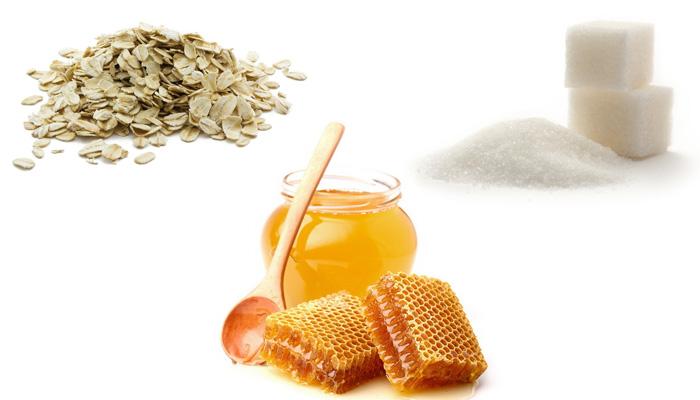 скраб из меда, овсянки и сахара