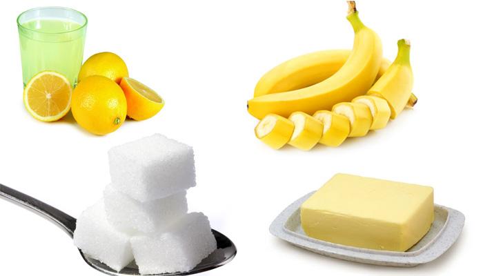 Скраб из сахара, масла, банана и лимона