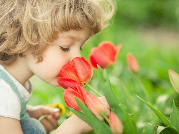 Ребенок нюхает цветок