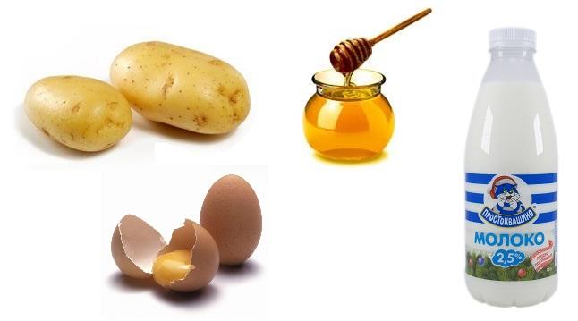картофель и мед и молоко