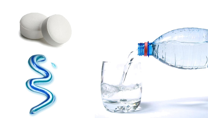 Вода, зубная паста, стрептоцид