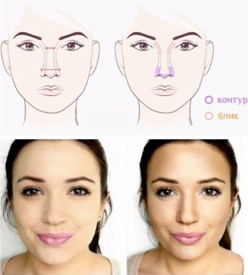 макияж для широкого носа
