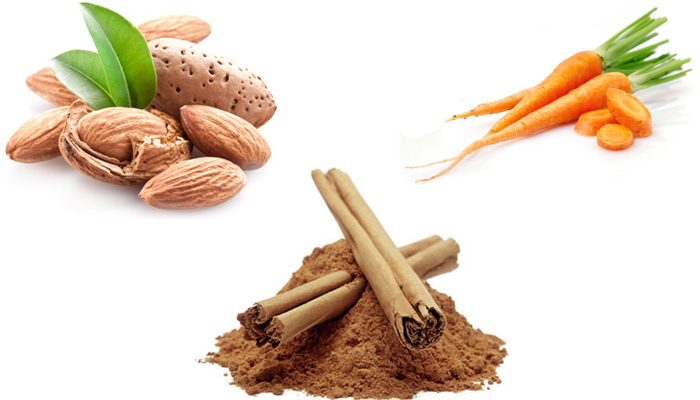 корица, морковь, миндаль