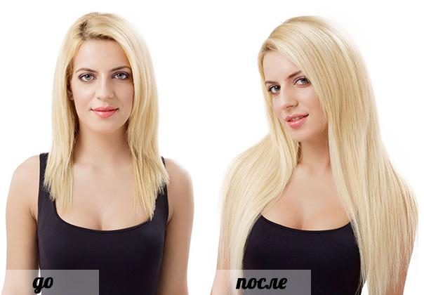 результат ленточного наращивания волос
