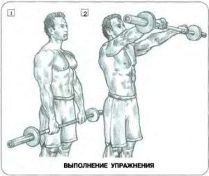упржнение для развития плечевых мышц подьем штанги перед собой
